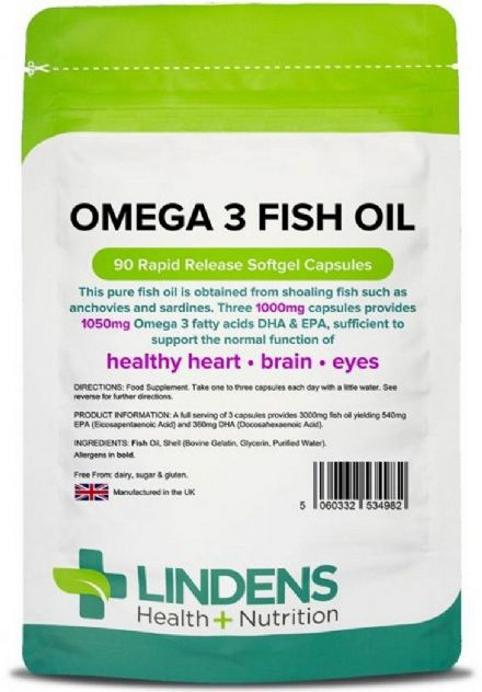 Omega-3 Fish Oil 1000mg x 90 Capsules; EPA/DHA 30%; Heart, Brain, Eyes; Lindens